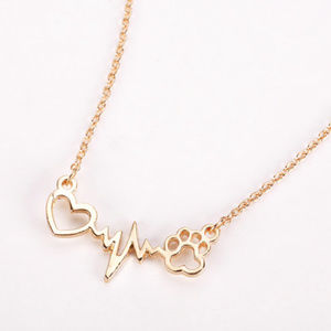 Dog Footprint Paw Heart Love necklace jewelry